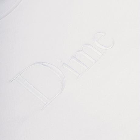 DIME CLASSIC EMBROIDERED CREWNECK WHITE