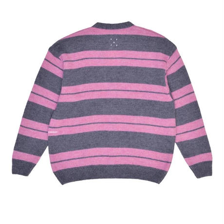 POP TRADING CO CAPTAIN KNITTED CARDIGAN ANTHRACITE/PINK