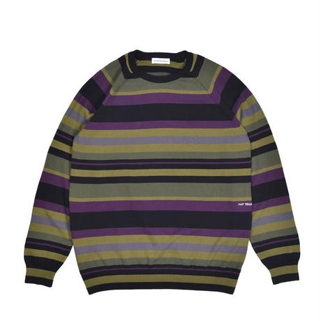 POP TRADING COMPANY STRIPED KNITTED CREWNECK MULTICOLOUR