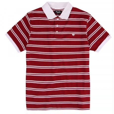 MAGENTA STRIPED S/S POLO - RED