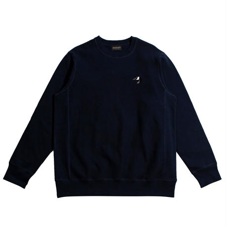 GRAND COLLECTION GOOSE EMBROIDERED CREW NAVY