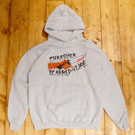 THRASHER SCARRED HOOD ASH GREY