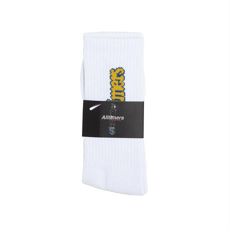 ALLTIMERS EMBROIDERED BUGGED OUT BROADWAY SOCK WHITE