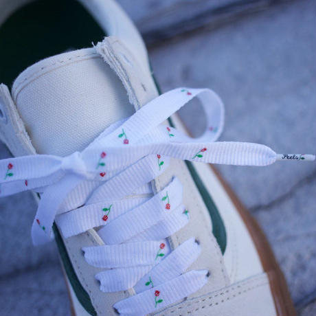 PEELS Peels Rose Logo Woven Shoelaces White
