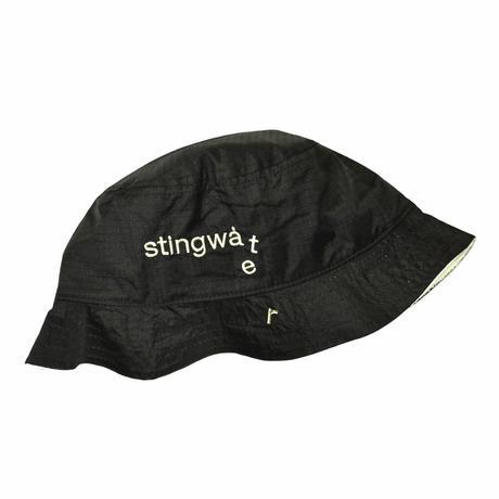 STINGWATER NYLON LOGO BUCKET HAT BLACK