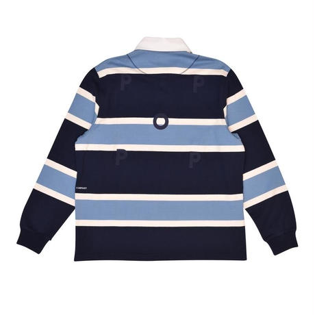 POP TRADING CO RUGBY POLO SHIRT NAVY/BLUE/OFFWHITE