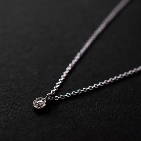 《Mille Grain Necklace 》Rosecut Diamond / PT900 / Silver (Rhodium Coating) / 1点もの