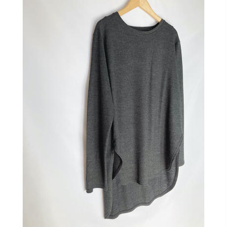 washable wool jersey round hem tee-shirt