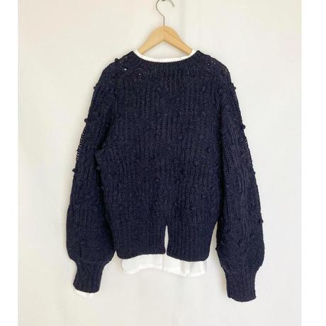 knit cardigan with pompoms