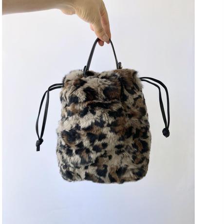 rabbit fur drawstring bag