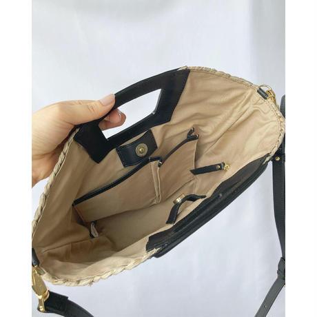 raffia leather bag