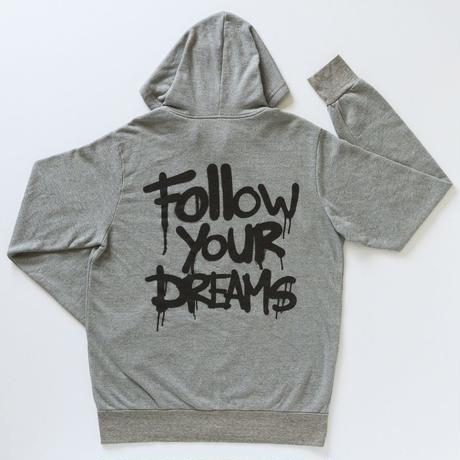 MBW apparel FOLLOW YOUR DREAMS ZIP PARKER GRAY(エムビーダブリュー アパレル フォローユアドリームス ジップパーカー グレー)