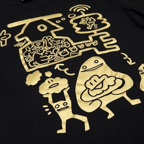 【DOKIDOKIDOKKN a.k.a NANA RABIRABI】脳ミソパフパフキラキラTシャツ (BLACK)