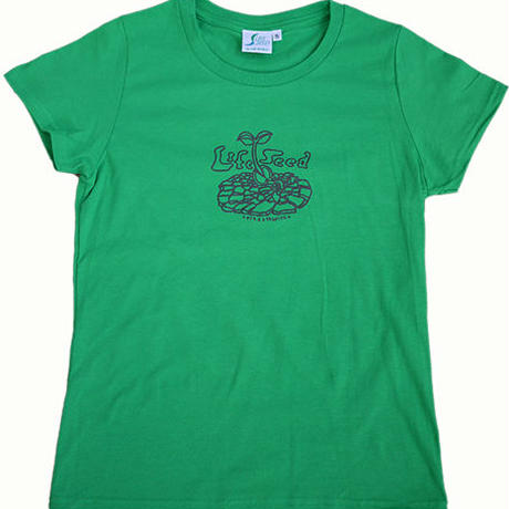 -Jah Works-【LIFE SEED × 狩集 広洋】*LADIES LIFE SEED MESSAGE-T (FRESH GREEN)