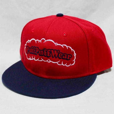【刺繍】Puff Puff SNAPBACK CAP (RED/NAVY)