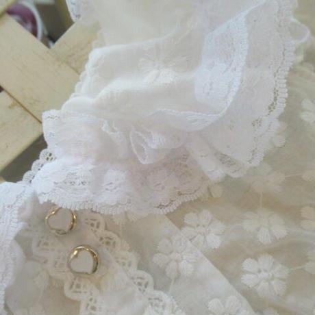 お花刺繍のコットンレースブラウス^^