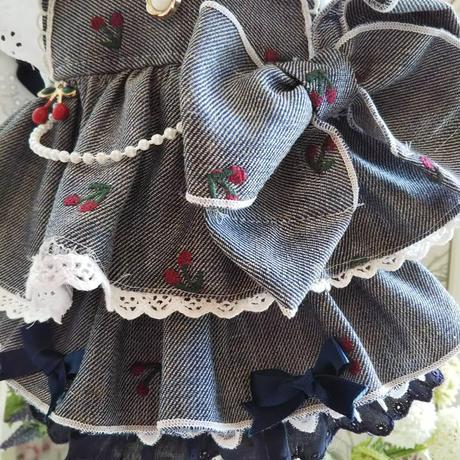 さくらんぼ刺繍デニムのフリフリワンピ^^