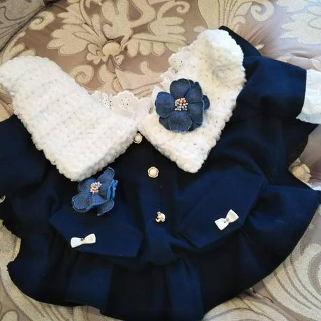 現品 ネイビーフラノのコートワンピ&髪リボンのセット 胴32 丈21