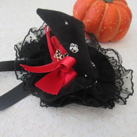 ハロウィン🎃お帽子 黒リボン 赤リボン