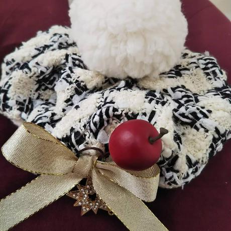バニラチェックツイードのクリスマスベレー帽^^