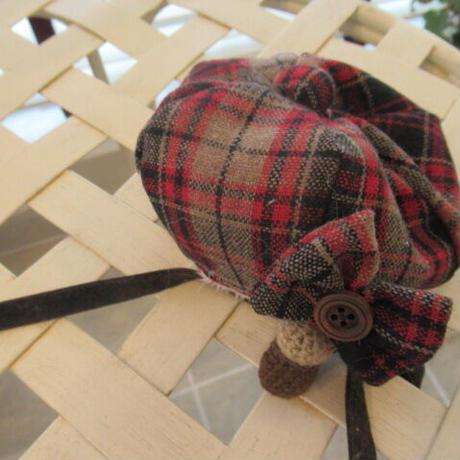 ファー&チェック リバーシブルベレー帽^^