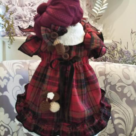 秋色 編み込みキルトのベレー帽