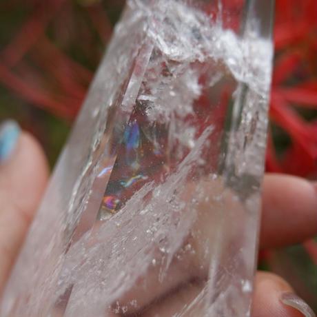 水晶オベリスク ポイント 虹入り