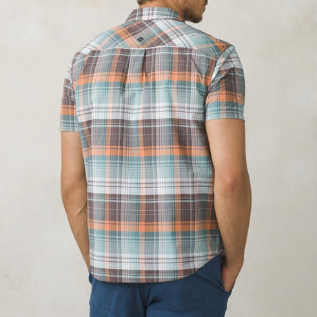 PRANA Cayman Plaid Short Sleeve S.Green