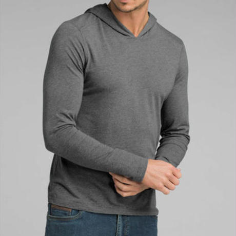 PRANA Long Sleeve Hooded T-Shirt Charcoal Heather