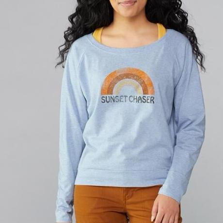 PRANA Womens Graphic Long Sleeve Tee Blue Sunset