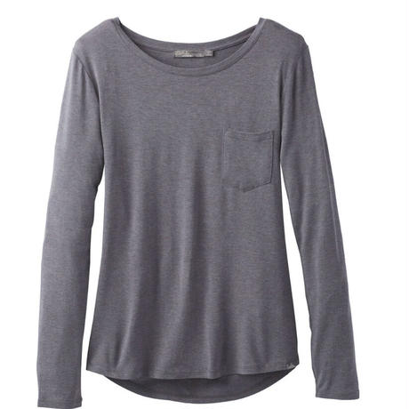 PRANA Womens Foundation  Long Sleeve Tee Muted Turffle Heather