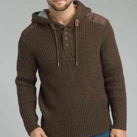 PRANA Hooded Henley Sweater Scothed Brown