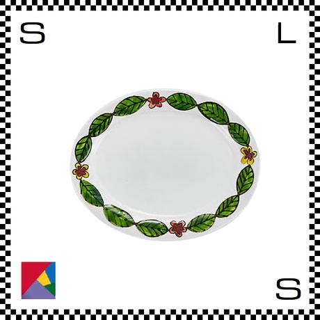 九谷焼 双鳩窯 オーバルプレート 葉繋ぎ W21.5/D17/H2.5cm 楕円皿 ハンドメイド 日本製