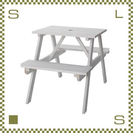 テーブル&ベンチ ホワイト W75/D120/H75.5/SH45cm ベンチ一体化テーブル ガーデンテーブル azu-ods91wh