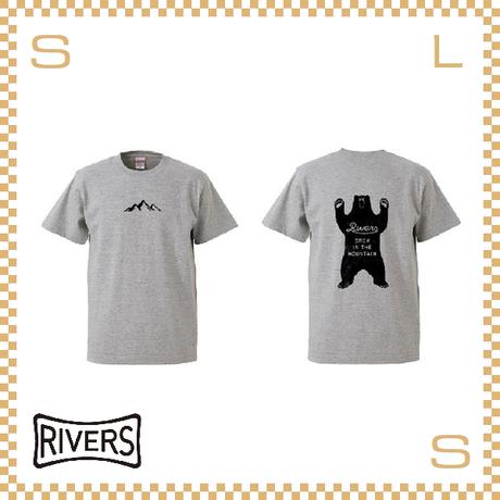 RIVERS リバーズ Tシャツ UP バックベア ミックスグレー S-XLサイズ ヘビーコットン使用 ティーシャツ