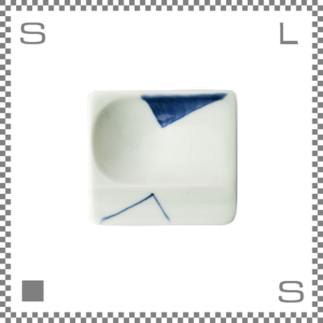 aiyu アイユー 重宝皿 対角濃 青 ブルー W8/D7.2/H1.3cm スクエアプレート 万能皿 箸置きスペースあり 波佐見焼 日本製