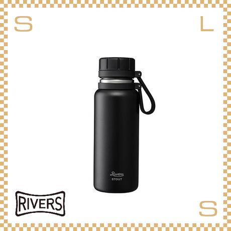 RIVERS リバーズ バキュームフラスク スタウト 500 ブラック W100/D74/H215mm 500ml 約330g 魔法瓶 ストラップ付 中栓付 ステンレス製