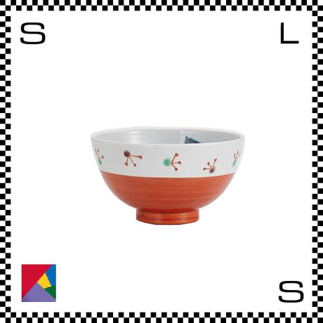 九谷焼 道場八重 茶碗 赤巻文様 Φ11/H5.5cm ライスボウル ハンドメイド 日本製