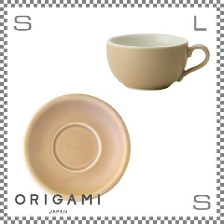 ORIGAMI オリガミ ラテボウル&ソーサー マットベージュ 8oz 250cc コーヒーカップ&ソーサー バリスタが設計 日本製