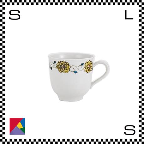 九谷焼 双鳩窯 マグカップ 花唐草 イエロー Φ9/H8.5cm コーヒーカップ ハンドメイド 日本製