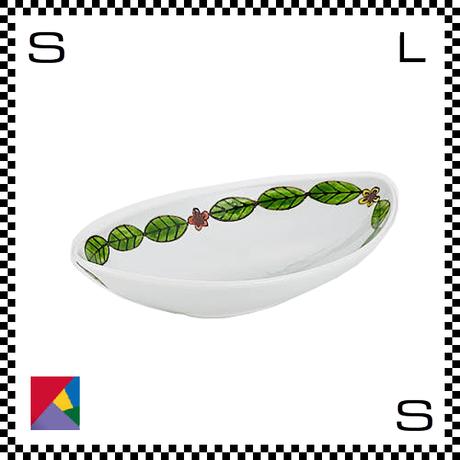 九谷焼 双鳩窯 オーバルボウル 葉繋ぎ W25/D14/H6cm 楕円皿 ハンドメイド 日本製