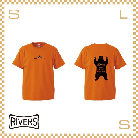 RIVERS リバーズ Tシャツ UP バックベア オレンジ S-XLサイズ ヘビーコットン使用 ティーシャツ