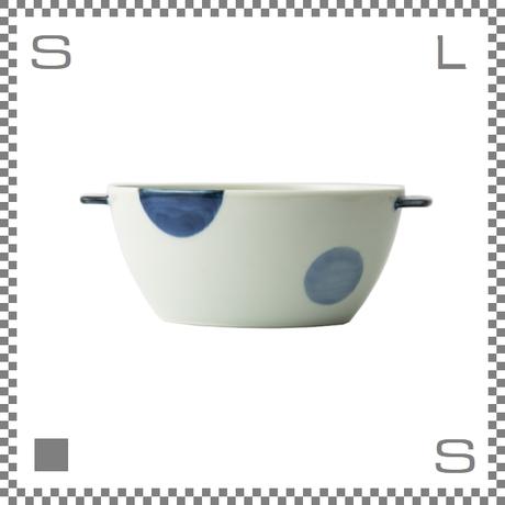 aiyu アイユー 丼 どんぶり 二色丸紋 青 W20.5/D14/H7.7cm 750cc 持ち手付 ボウル シチュー皿 波佐見焼 日本製
