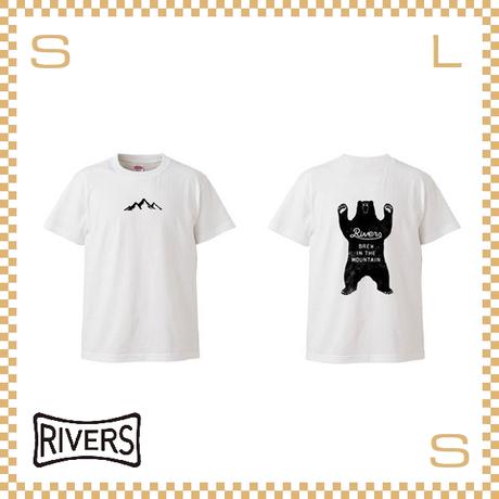 RIVERS リバーズ Tシャツ UP バックベア ホワイト S-XLサイズ ヘビーコットン使用 ティーシャツ