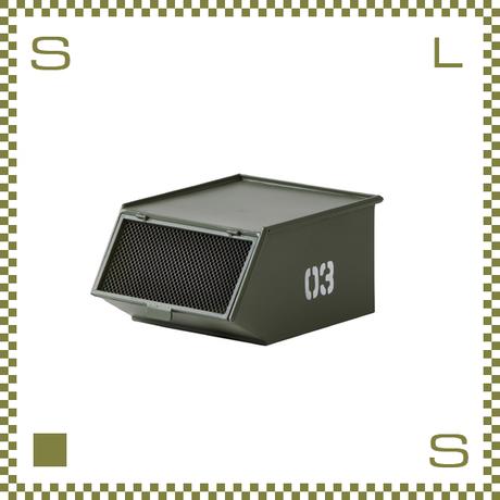スタッキングトレーボックス ミリタリー風 グリーン W33/D41/H20cm 金網付きフラップドア付き スチール製 azu-lfs441gr