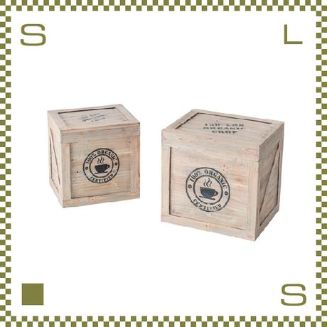 ウッドボックス 2サイズセット L:W42/D34/H40.5cm S:W36/D29/H36 古材風 フラップ蓋 azu-ccr403