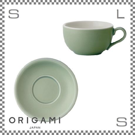 ORIGAMI オリガミ ラテボウル&ソーサー マットグリーン 8oz 250cc コーヒーカップ&ソーサー バリスタが設計 日本製
