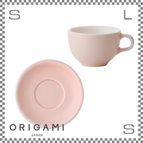 ORIGAMI オリガミ ラテボウル&ソーサー マットピンク 6oz 180cc コーヒーカップ&ソーサー バリスタが設計 日本製