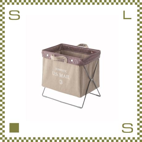 フォールディングバッグ ベージュ W39/D26/H35cm 折り畳み 収納ボックス マガジンラック 持ち手付き ミリタリー風 アウトドア azu-mip89be