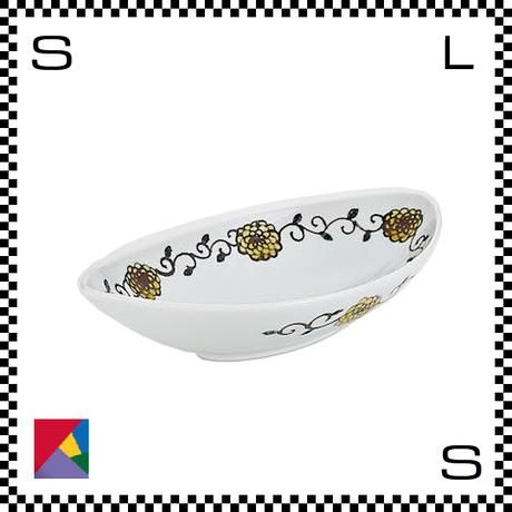 九谷焼 双鳩窯 オーバルボウル 花唐草 イエロー W25/D14/H6cm 楕円皿 ハンドメイド 日本製